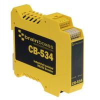 Brainboxes Industrial Isolated RS232 Booster, IP20, 120kb Max Baud Seriële coverters/repeaters/isolatoren - .....