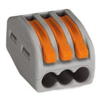 Wago 3-conductor, 4.153g, gray Elektrische terminale blokken - Grijs