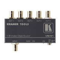 Kramer Electronics 1 composite/SDI IN, 5 composite/SDI OUT, 2.3 Vpp, 420 MHz, 73 dB, 12 V DC, 200 g .....