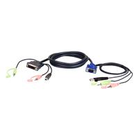 Aten 1.8M USB VGA to DVI-I KVM Cable with Audio - Noir,Vert,Rose