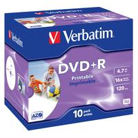 Verbatim DVD+R Wide Inkjet Printable ID Brand, 10pcs (her)schrijfbare DVD