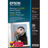 Epson Premium Glossy Photo Paper - 13x18cm - 30 Vellen Fotopapier - Wit