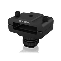 ICY BOX Hot shoe clamp for external storage Camera-ophangaccessoires - Zwart
