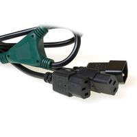 ACT 230V splitcable C14 - 2 x C13 1.8 m Cordon d'alimentation - Noir