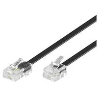 Microconnect RJ11-RJ45 Male/Male, Black, 1.0m Telefoon kabel - Zwart