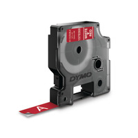 DYMO D1 -Durable Labels - White on Red - 12mm x 7m Labelprinter tape - Zwart