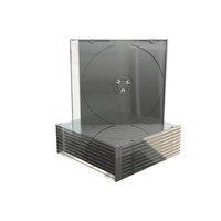 MediaRange CD Slimcase for 1 disc, 5.2mm, machine packing grade, black tray - Zwart,Transparant