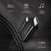Axagon RVC-HI2C USB-C > HDMI 2.0 cable 1.8m - Zwart