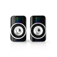 Nedis Gaming Speakers, 2.0, RGB, USB powered, 3.5mm jack, 30 W Luidspreker - Blauw,Zwart