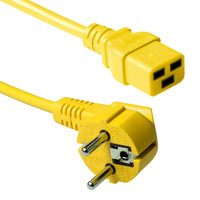 ACT Powercord schuko male (angled) - C19, yellow, 3.00 m Cordon d'alimentation - Jaune