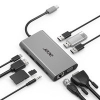 Acer 10-In-1 Type-C Dongle, HDMI: 3840x2160@30Hz, VGA: 1920x1080@60Hz, 5Gbps, 3x USB 3.0 / 1x HDMI / 1x VGA / 1x .....