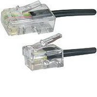 Microconnect RJ11-RJ45 Male/Male, Black, 2.0m Telefoon kabel - Zwart