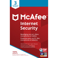 McAfee Internet Security, 3 Devices (Dutch / French) Databeveiligingssoftware