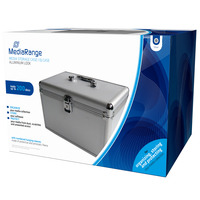MediaRange Media storage case for 200 discs, aluminum look, with hanging sleeves, silver - Argent