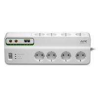 APC 8 Outlets, 2690 Joules, 2300W, CEE 7 Schuko, 230V, 50 Hz, 10A, 1 ns Protecteur tension - Blanc