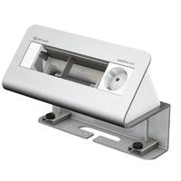 Kindermann 4-fold 1 x mains alu Boitier de prise de courant - Aluminium, Blanc