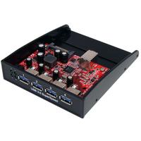 StarTech.com 4-poort Hub USB 3.0 Voorpaneel 3,5/5,25 inch Bay Interface hub - Zwart