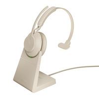 Jabra Evolve2 65 HS+Stand UC Mono Beige Headset