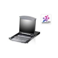 Aten LCD à deux rails 8 ports Multi-Interface Cat 5 sur IP accès de partage 1 local/distant Commutateur KVM - Noir