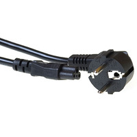 ACT Powercord mains connector, CEE7/7 male (angled) - C5, 5m, Black Cordon d'alimentation - Noir