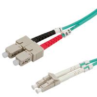 Value Câble FO 50/125µm, LC/SC, OM3, turquoise 2m Câble de fibre optique