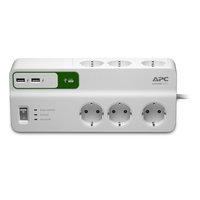 APC 6 x CEE 7 Schuko Outlets, 1836 Joules, USB Charger (2-Port, 5V, 2.4A), 230V, Germany Protecteur tension - Blanc