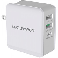 Real Power DeskCharge-65 RealPower Travel Charger 3-Port 65W White