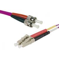 Connect LC-UPC/ST-UPC duplex multimode OM3 50/125 Fiber patch cable purple, 3 m Fiber optic kabel - Paars