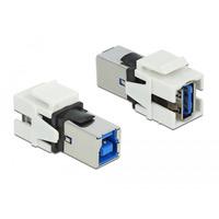DeLOCK Module Keystone, USB 3.0 A femelle - USB 3.0 B femelle, blanc