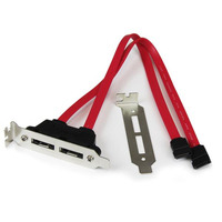 StarTech.com 2 Port Low Profile SATA to eSATA Plate Adapter Interfaceadapter - Rood