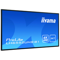 "Iiyama 64.5"", 3840x2160, 16:9, IPS, 8ms, VGA, HDMI, DVI, DP, RS-232C, RJ-45, USB, AC 100 - 240V, 50/60Hz, ....."