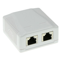 ACT Surface mounted box shielded 2 ports CAT5E Boitier de prise de courant - Blanc