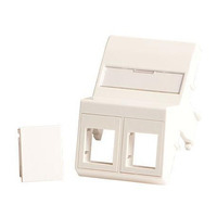 Lanview Wall plate, angled, 2 x keystone for 50x75 mm Clickline outlet, White - Wit