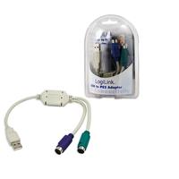 LogiLink Adapter USB - 2x PS/2 Câble PS2 - Gris