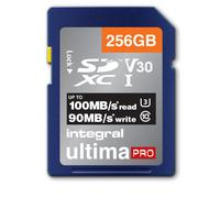 Integral 256GB SD SDXC UHS-1 U3 CL10 V30 UP TO 100MBS READ 90MBS WRITE Flashgeheugen - Blauw,Zilver