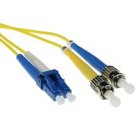 ACT 1m LSZH Singlemode 9/125 OS2 glasvezel patchkabel duplexmet LC en ST connectoren Fiber optic kabel - Geel