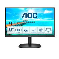 AOC B2 21.5 inch 1920x1080@75Hz 6.5 ms VA HDMI 1.4 x 1, VGA Monitor - Zwart