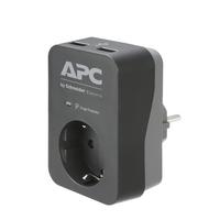 APC PME1WU2B-GR Tussenstekker met overspanningsbeveiliging 3680W 1x stopcontact + 2x USB lader Spanningsbeschermer - .....