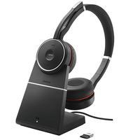 Jabra Evolve 75 UC Stereo + Charging Stand Mobiele hoofdtelefoon - Zwart, Rood
