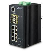 ASSMANN Electronic Industrial 8-Port 10/100/1000T + 4-Port 100/1000X SFP Managed Switch - Zwart