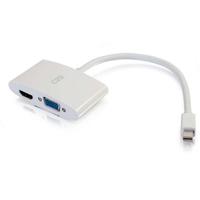 C2G 20cm Mini DisplayPort to HDMI or VGA Adapter Converter 4K UHD - White - Blanc