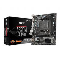 MSI A320M-A PRO, AMD 320, AM4, 2x DDR4, PCIe 3.0 x16, 1x PCIe 2.0 x1, DVI-D, HDMI, SATA, USB 3.2, LAN, m-ATX, .....