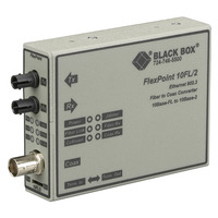 Black Box FlexPoint 10BASE-FL to BNC Media Converter, 10-Mbps Fiber to ThinNet, Single-mode, 1300-nm, 30 km, .....