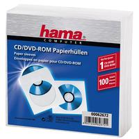 Hama Pochettes en papier pour CD/DVD, paquet de 100, blanches