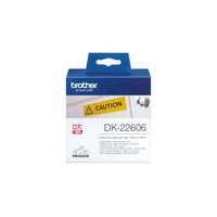 Brother DK Continue Lengte Tape: 62 mm - Duurzame film - geel (15.24m) Labelprinter tape - Zwart, Geel