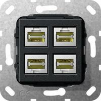 GIRA Basiselement Modular Jack RJ45 Cat.6 10 GB Ethernet viervoudig Snijklemtechniek Dop aansluitdoos - Zwart