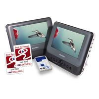 Salora Een portable DVD speler met twee 7''(18CM) schermen met USB/SD en een automontage set Ontvanger - Grijs, .....