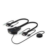 Belkin Secure Flip 2-Port DVI-D KVM w/ Audio and Remote Controller KVM switch - Zwart
