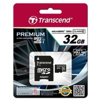 Transcend 32GB microSDHC Class 10 UHS-I Flashgeheugen - Zwart