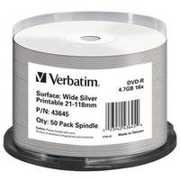 Verbatim DVD-R 16x, 4.7GB, 50pk Spindle, No ID Brand DVD vierge